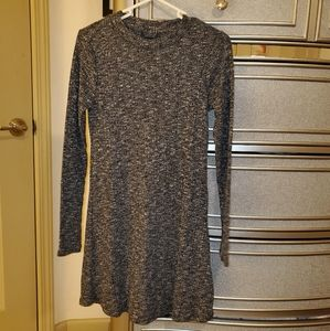 Topshop Long-sleeved Gray Dress